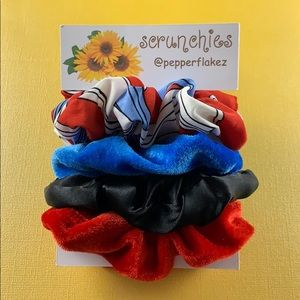 Red and Blue Scrunchies | 4 Pack